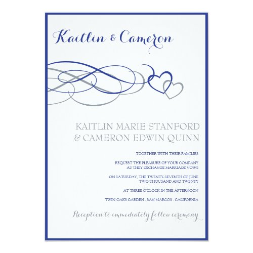 Blue & Silver Wedding Invitation