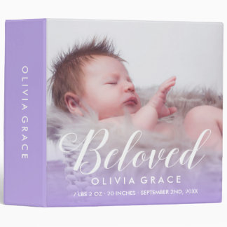 Beloved | Purple | Baby Photo & Name 3 Ring Binder