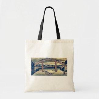 Below Mannen Bridge by Katsushika,Hokusai Canvas Bags