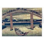 Below Mannen Bridge by Katsushika,Hokusai Greeting Cards