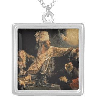 Belshazzar's Feast c.1636-38 Square Pendant Necklace
