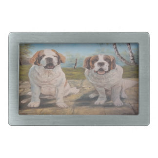 Belt Buckle Ann Hayes Painting Two St Bernards