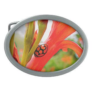belt buckle oval red flower and ladybug