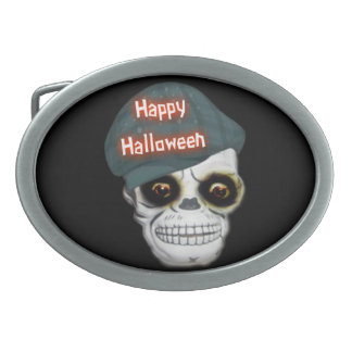 Belt Buckle Skeleton Head Happy Halloween