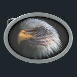 """Belt Buckle w/ Bald Eagle /American flag<br><div class=""""desc"""">Show your a true patroit when you wear this custom belt buckle with the American flag on the eagle's face.</div>"""