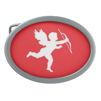 Belt Buckle White Cupid On Red
