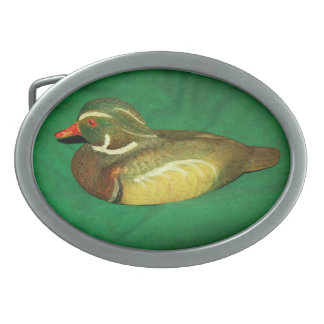 Belt buckle with duck on it.