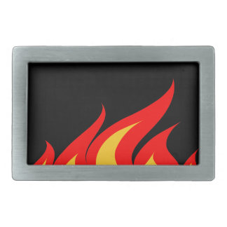 Belt buckle with fire flames