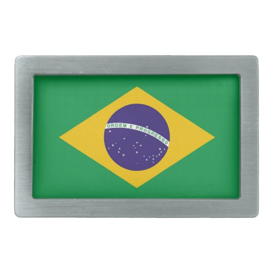 Belt Buckle with Flag of Brazil