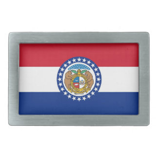Belt Buckle with Flag of Missouri State