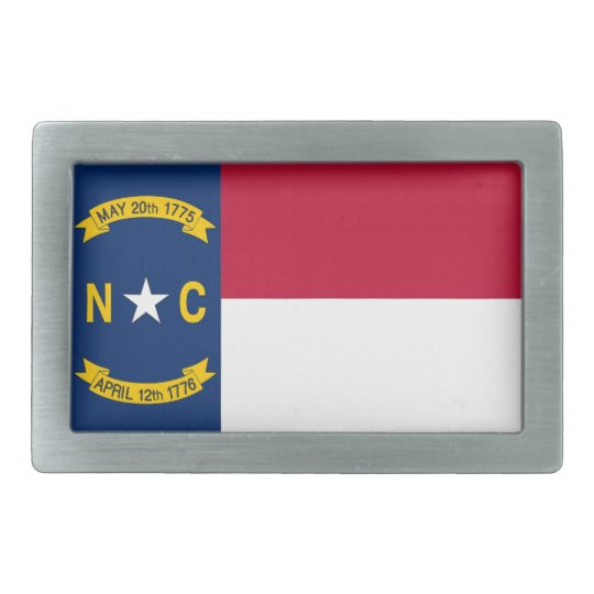 Belt Buckle with Flag of North Carolina State