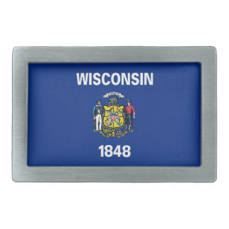 Belt Buckle with Flag of Wisconsin State