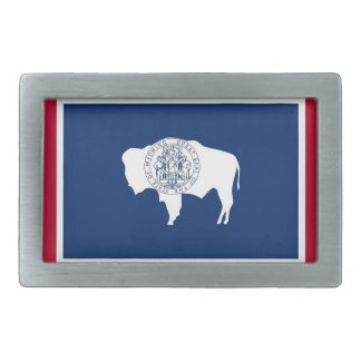Belt Buckle with Flag of Wyoming State