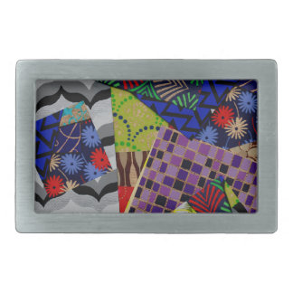 Belt Buckle with Multi-Patterned Collage Design