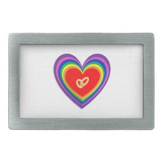 Belt Buckle With Rainbow Hearts & 2 Wedding Rings