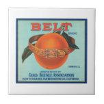 Belt Gold Buckle Association Vintage Crate Label Ceramic Tile