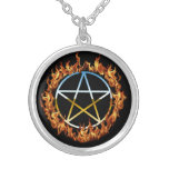 Beltane Fire Pentacle Silver Plated Necklace