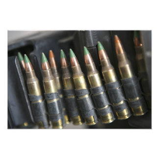 Belted bullets for an M-249 squad automatic wea Photograph