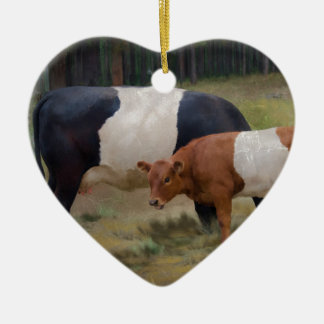 Belted cow and calf with texture ceramic ornament