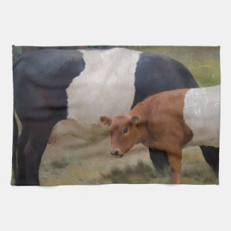 Belted cow and calf with texture hand towel
