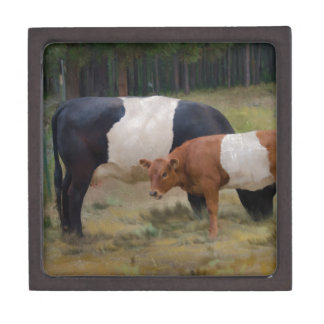 Belted cow and calf with texture jewelry box