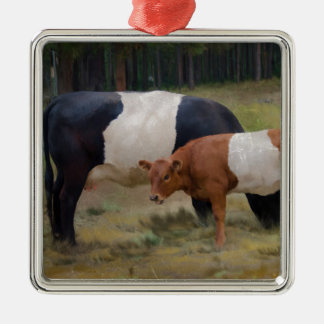 Belted cow and calf with texture metal ornament