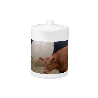 Belted cow and calf with texture teapot