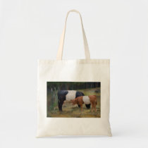 Belted cow and calf with texture tote bag