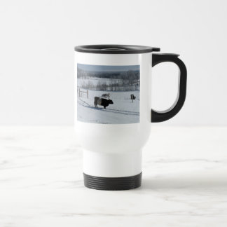 Belted Galloway Cow in a Snowy Landscape 15 Oz Stainless Steel Travel Mug