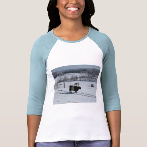 Belted Galloway Cow in a Snowy Landscape Tees