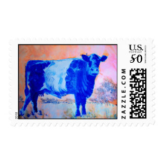 Belted Galloway Cow Orange Sky postage stamps