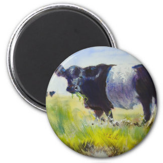 Belted Galloway Cow Painting 2 Inch Round Magnet
