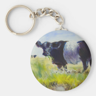 Belted Galloway Cow Painting Basic Round Button Keychain