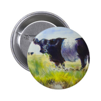 Belted Galloway Cow Painting Button