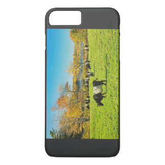 Belted Galloway Cows Grazing On Grass In Fall iPhone 7 Plus Case