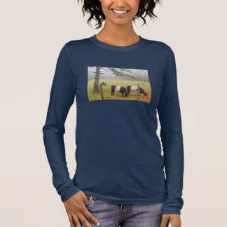 Belted Galloway Cows On Farm In Rockport Maine Long Sleeve T-Shirt