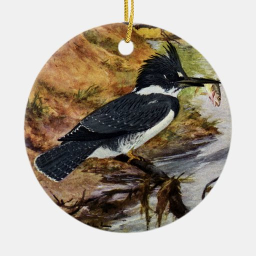 Belted Kingfisher and His Fish Double-Sided Ceramic Round Christmas Ornament