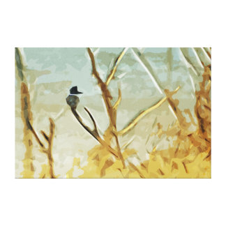 Belted Kingfisher at Rivers Edge Abstract Canvas Print