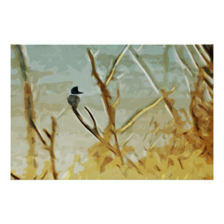 Belted Kingfisher at Rivers Edge Abstract Poster