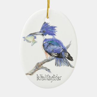 Belted Kingfisher - Bird, Nature Double-Sided Oval Ceramic Christmas Ornament