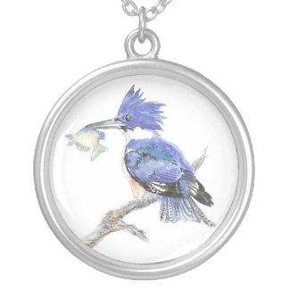 Belted Kingfisher, Bird, Nature, Wildlife, Silver Plated Necklace