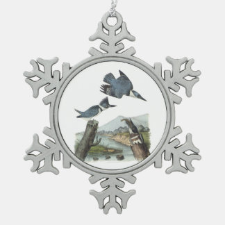 Belted Kingfisher by Audubon Snowflake Pewter Christmas Ornament