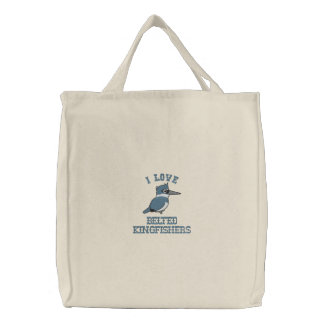 Belted Kingfisher Embroidery Embroidered Tote Bag