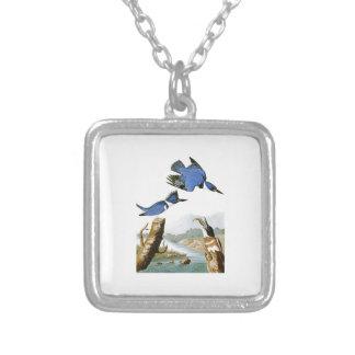 Belted Kingfisher John Audubon Birds of America Square Pendant Necklace