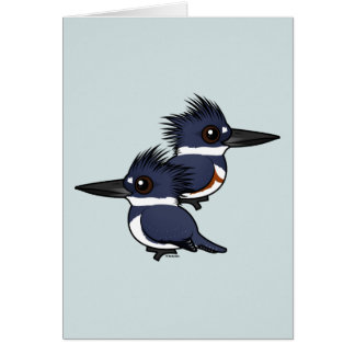 Belted Kingfisher pair Card