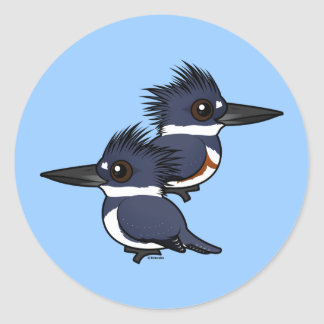 Belted Kingfisher pair Classic Round Sticker