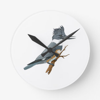 BELTED KINGFISHER ROUND CLOCK