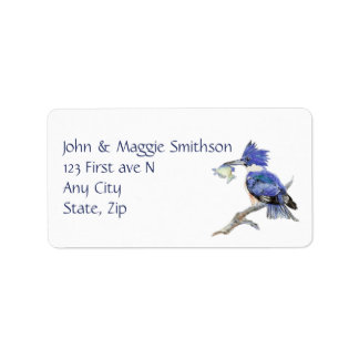 Belted Kingfisher Watercolor Bird Nature Address Label