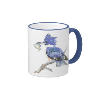 Belted Kingfisher - with fish - Bird Collection Ringer Coffee Mug