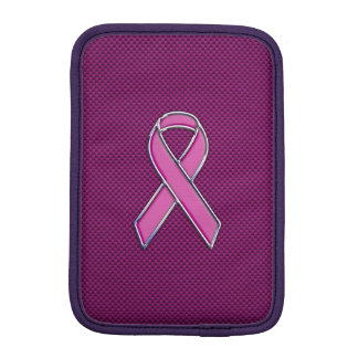 Belted Pink Ribbon Awareness Carbon Fiber Decor Sleeve For iPad Mini